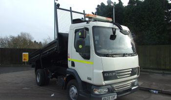 white daf tipper truck with tipper raised