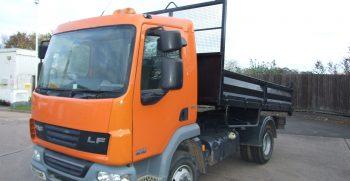 orange daf ex council tipper truck